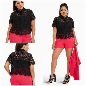 Torrid Lace Button Front Top Black Size 3 Plus 3X